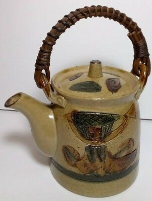 Vintage Stoneware Pottery OMC Japan UNIQUE Tea Pot Teapot Wicker Rattan Handle