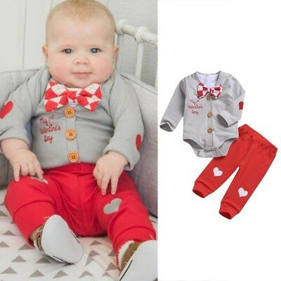 3Pcs Kids Baby Boys Girls Valentine Romper Bodysuit Long Pants Clothes Outfits