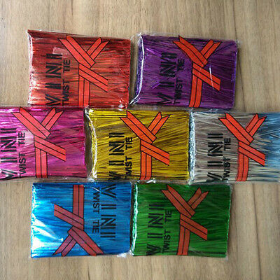 Chic 800 Pcs Metallic Twist Ties for Candy Lollipop Cake Pop Cello Bag Party New