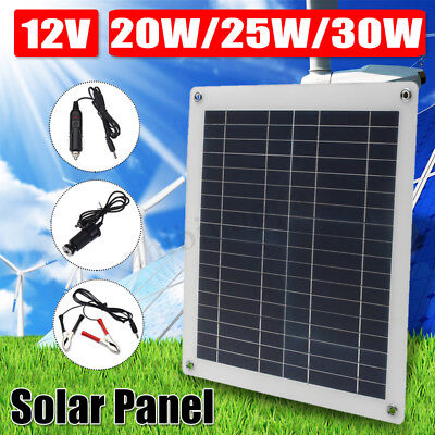 20W/25W/30W 5V-12V Flexible Solar Panel DC/USB Battery Charger RV Motorhome Boat