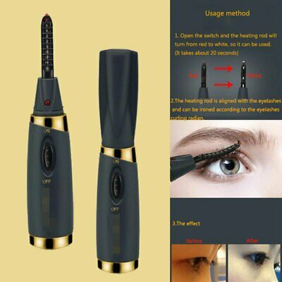 Electric Heated Eyelash Curler Tool Kit AA Battery Beauty Makeup Long Lasting