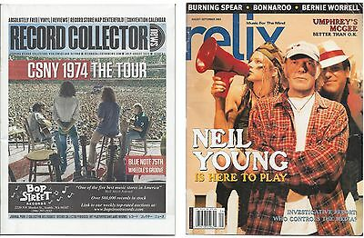 2 magazine lot - CSNY, Neil Young - Relix & Record Collector News 2008 & 2014
