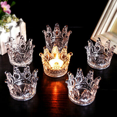 Clear Crystal Glass Crown Smoking Tobacco Cigar Ashtray Candle Holder Room Retro