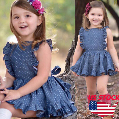 USA Summer Baby Girl Kids Sleeveless Polka dots Cotton Party Dress Outfit Tops