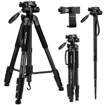 K&F Concept Camera Video Tripod Monopod w/ Swivel Pan Tilt Head Cellphone Holder
