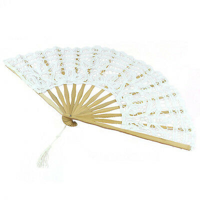 Wihte Handmade Cotton Lace Folding Hand Fan  Party Bridal Wedding Decor