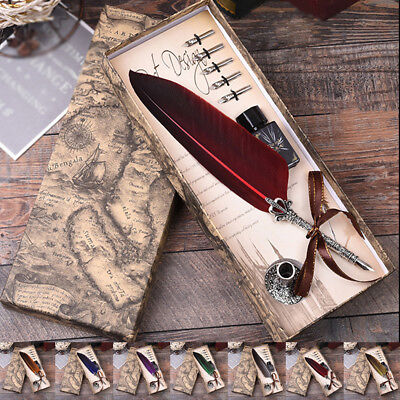 Newest with Gift Box Quill Dip Pen Vintage Feather Pen + Ink  & 5 Nibs Hot