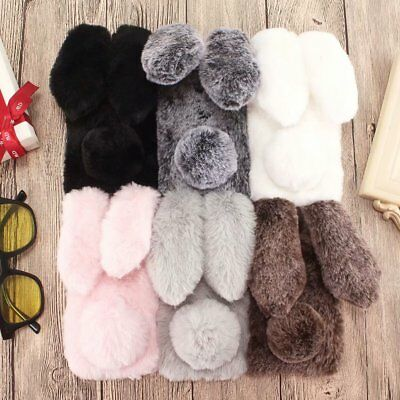 HOT 3D Cute Handwork Winter Keep Warm Plush Rabbit Case Cover For Various Phone
