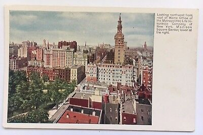 NY Postcard New York City View from Met Life Bldg Old Madison Sq Garden tower