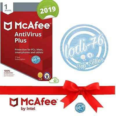 McAfee AntiVirus Plus 2019, 1 Year, 3 Serial Global Activation, email Delivery