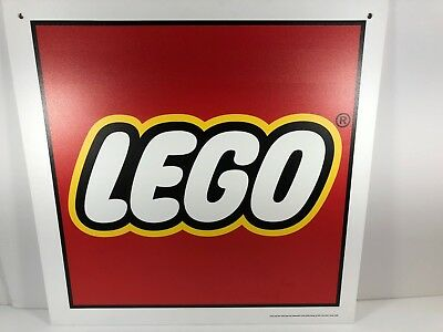 """Lego Store Sign Advertising Banner 2 Sided Hard Plastic 16"""" x 16"""" Baseplate NEW"""