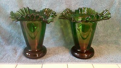 Emerald Green Pair Turn of Century Triple Crimp Vases