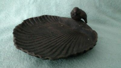 Large Cast Iron Bird Feeder Scallop Shell Shape Outdoor Garden