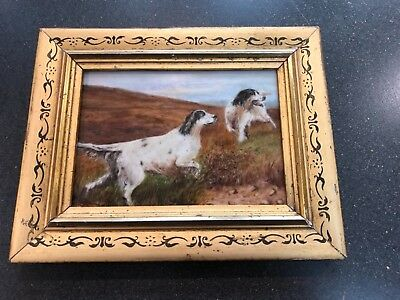 Antique hand painted miniature painting on porcelain, circa 1900