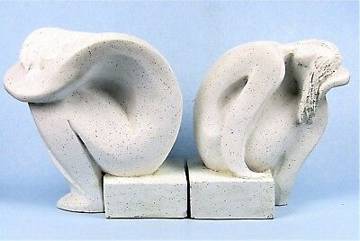 """MID-CENTURY MODERN AUSTIN PROD NUDE SCULPTURAL BOOKENDS """"YOUTH"""" by FISHER 1980"""
