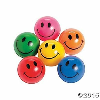 12 Smile Face Emoji Bounce Balls Kids Birthday Party Favors Gifts Toys Games