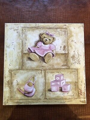 "Wooden Childrens Room / Nursery Pink Teddy WOOD SIGN 15.5"" X 15.5"""