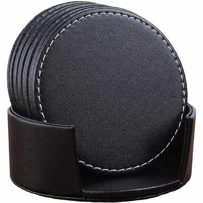 Set of 6 Leather Drink Coasters Round Cup Mat Pad for Home and Kitchen Use  F1X5