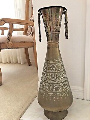 """ANTIQUE VINTAGE ARABIC COPPER and BRASS HAND TOOLED EMBOSSED PITCHER URN 22"""""""