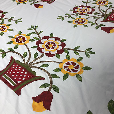 Bold needle turn applique Woven Basket - QUILT TOP - Antique styled - Must See