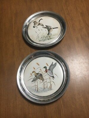 Lot Of 2 Sterling Silver Plates With Ceramic Inserts Marked Sterling 615