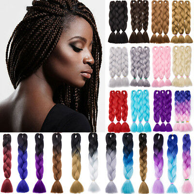 Two Tone Colored Full Head Twist Braids Braiding Hair Extensions Synthetic JB50