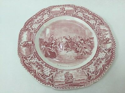 "Vintage Colonial Times by Crown Ducal Pink England Plate, 10 1/4"" D"