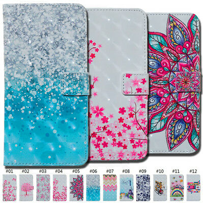 Painted Card Slot Wallet 3D Flip Stand PU Leather Case Cover For Samsung Galaxy