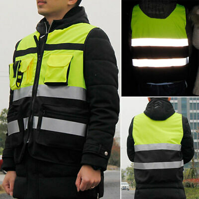 Safety Vest Zip Up HI VIS Reflective Tape Workwear Jacket Night Day Work TOP
