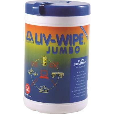 Alcohol Liv Wipes Jumbo Large Medical Antiseptic Pads 420x145mm x 75 Tub Pack