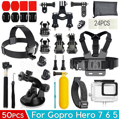GoPro Accessories Pack Head Chest Diving Waterproof Housing Case for Hero 7 6 5