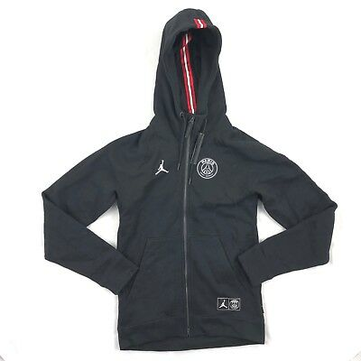 d7068fcb5e5 Nike Air Jordan PSG Paris Saint Germain Hoodie Black White BQ4195-010 Mens  Small