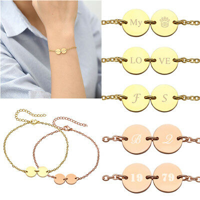 Text Engraved Stainless Steel 2x Round Disc Bracelet Chain Couple Custom Gift