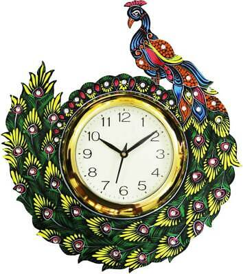 Peacock Wall Clock Wooden Hand Carved Antique Design Vintage Clock Xmas Gift