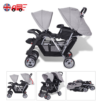 Tandem Pushchair Toddler Stroller Double Twin Seat Baby Buggy Pram Walk Gray Hot