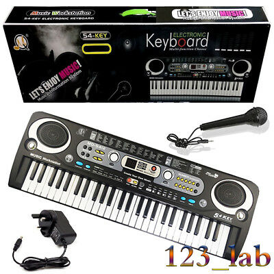 Digital 54 Keys Set Electronic Keyboard & Microphone Mic Electric LED Adult Size