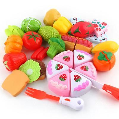 9pcs Kids Toy Pretend Role Play Kitchen Fruit Vegetable Cake Food Cutting Sets