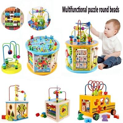 Baby Wooden Activity Cube Toys Kids Education Learning Puzzle Bead Fun Gift UK