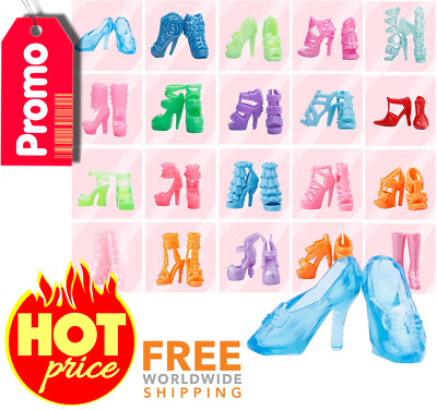 New 40 Pairs Different High Heel Shoes Boots Accessories For Barbie Doll Gift