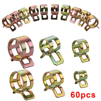 60Pc Fuel Line Hose Spring Clips Water Pipe Air Tube Clamps 6/8/10/12/14/15mm UK