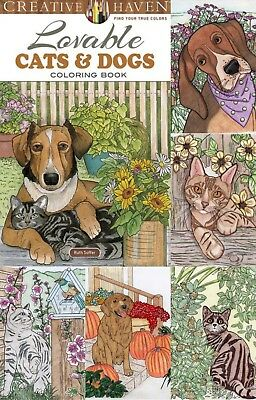 Coloring Books For Adult Lovable Cats Dogs Animal Designs Stress Relief Painting
