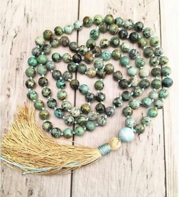 Spirituality 6MM Natural Turquoises green 108 Beads Tassels Necklace Wrist Hot