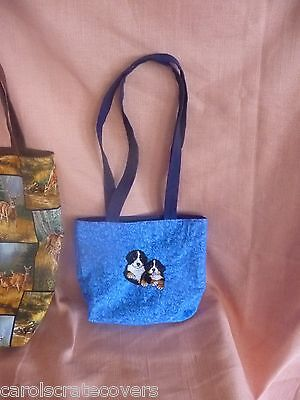 Bernese Mountain Puppies Dog Embroidered Tote Bag Handmade 8x9x4 small