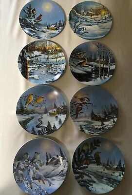 "Complete set of 8 Collector Plates Wings of Winter Collection, D L ""Rusty"" Rust"