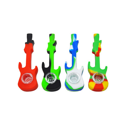 1PC Portable Silicone Guitar Shape Filter Smoking Pipe Tobacco Herb Pipe New