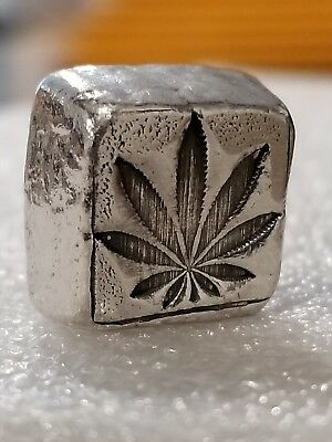1 oz .999 Silver hand poured Cannabis marijuana cube legalized mary jane pot New