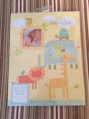 New Stepping Stones Baby's First Memory Book Yellow Elephant, Lion, Giraffe+++
