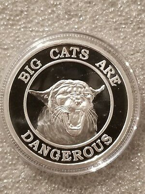 1 oz. 999 silver coin Big Cats are Dangerous beautiful nude women adult novelty