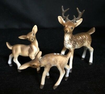 3 Vintage Miniature Bone China Deer Family - BUCK DOE FAWN - Matte Finish JAPAN