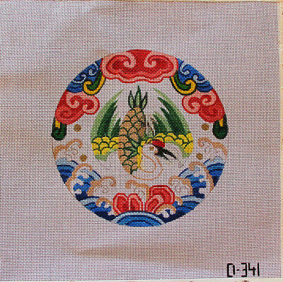 Phoenix or Crane Round Hand Painted Needlepoint Canvas